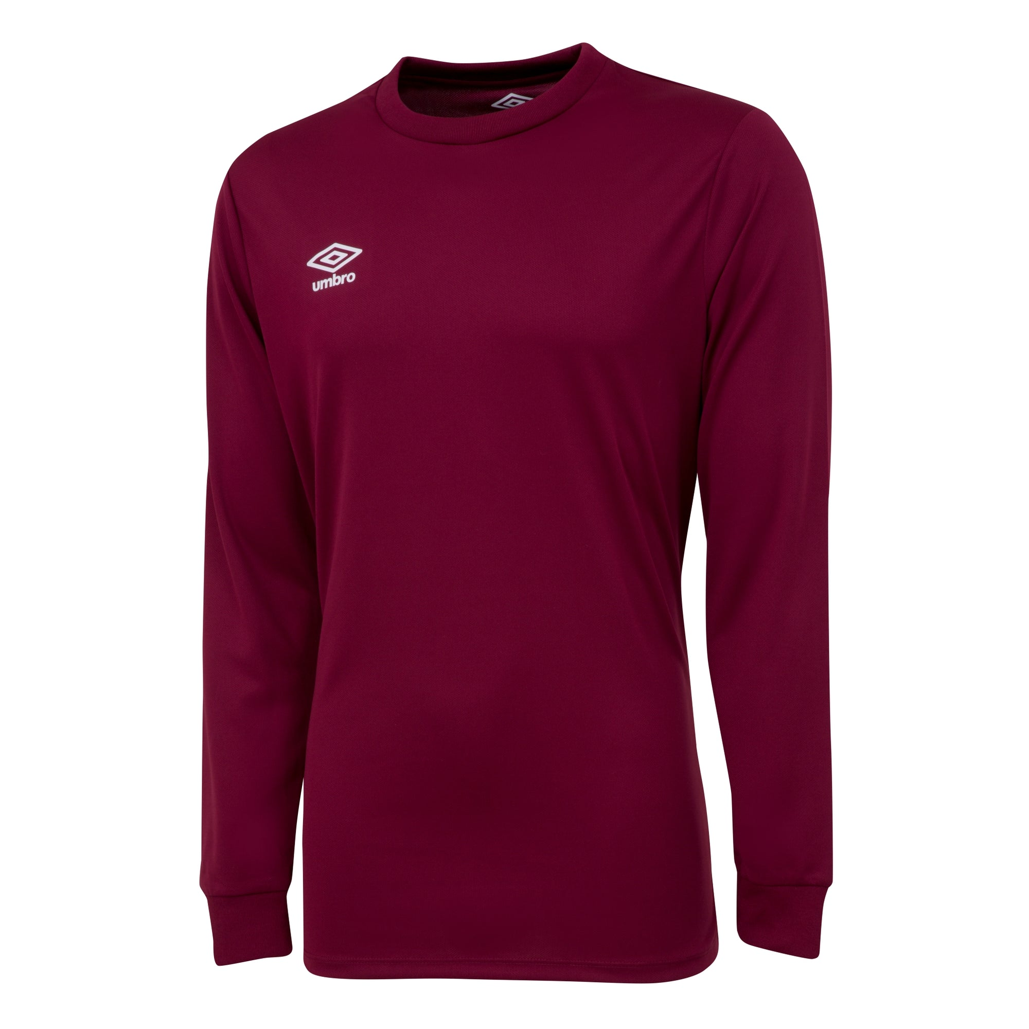 Umbro long sleeve club jersey in claret with white printed Umbro logo