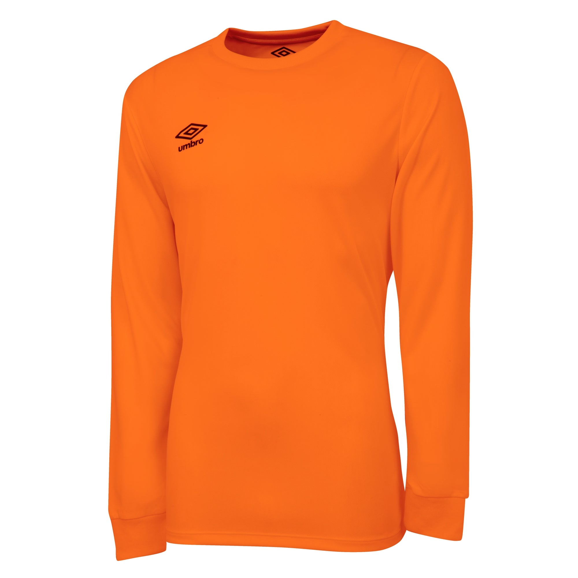 Umbro long sleeve club jersey in shocking orange with black printed Umbro logo