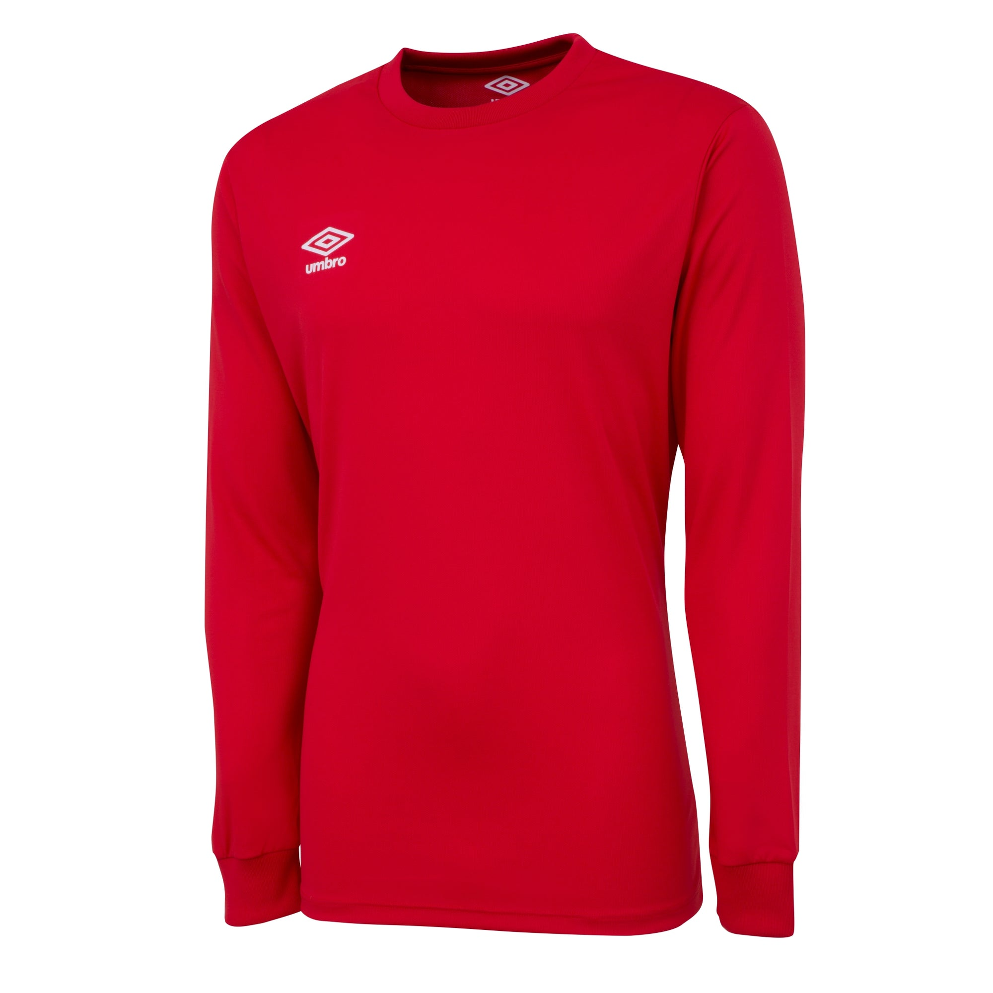 Umbro long sleeve club jersey in vermillion (red) with white printed Umbro logo