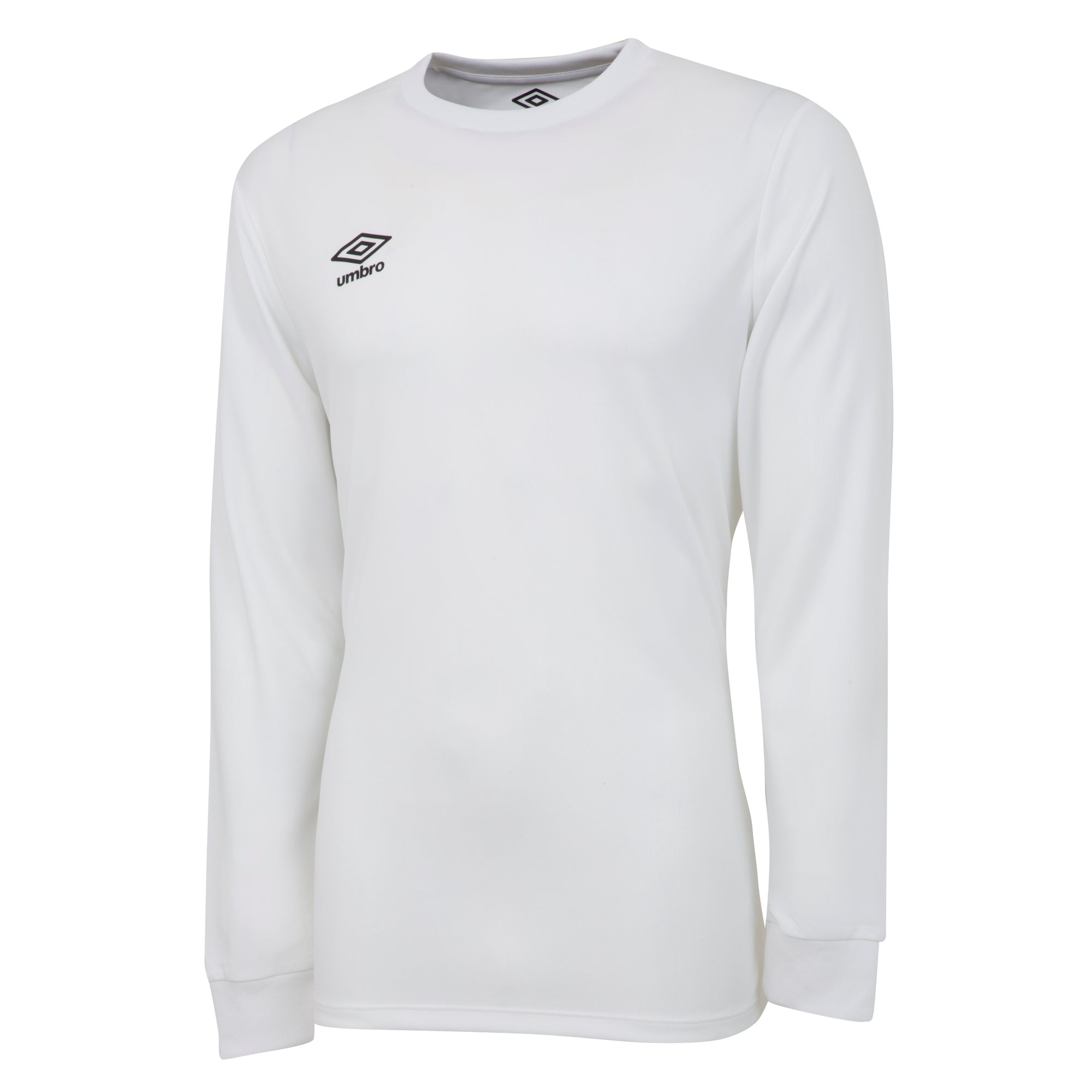 Umbro long sleeve club jersey in white with black printed Umbro logo