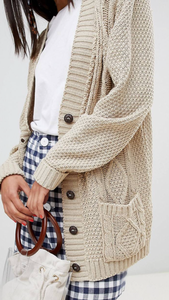 Cable knit boyfriend cardigan in stone