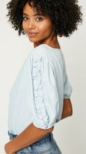 Denim Ruffle Puff Sleeve Top