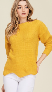 Walking on sunshine scallop hem sweater
