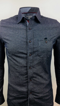 Slim fit grey blue stretch flannel button up shirt