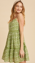 Ditsy Green Floral Tiered Dress