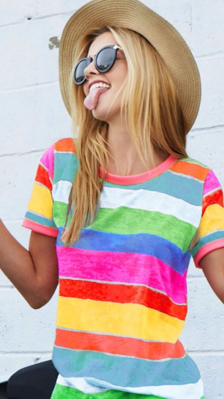 Wanna Have Some Fun Colorful Ringer Tee
