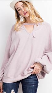 Sammy oversized soft knit with keyhole detail in mauve
