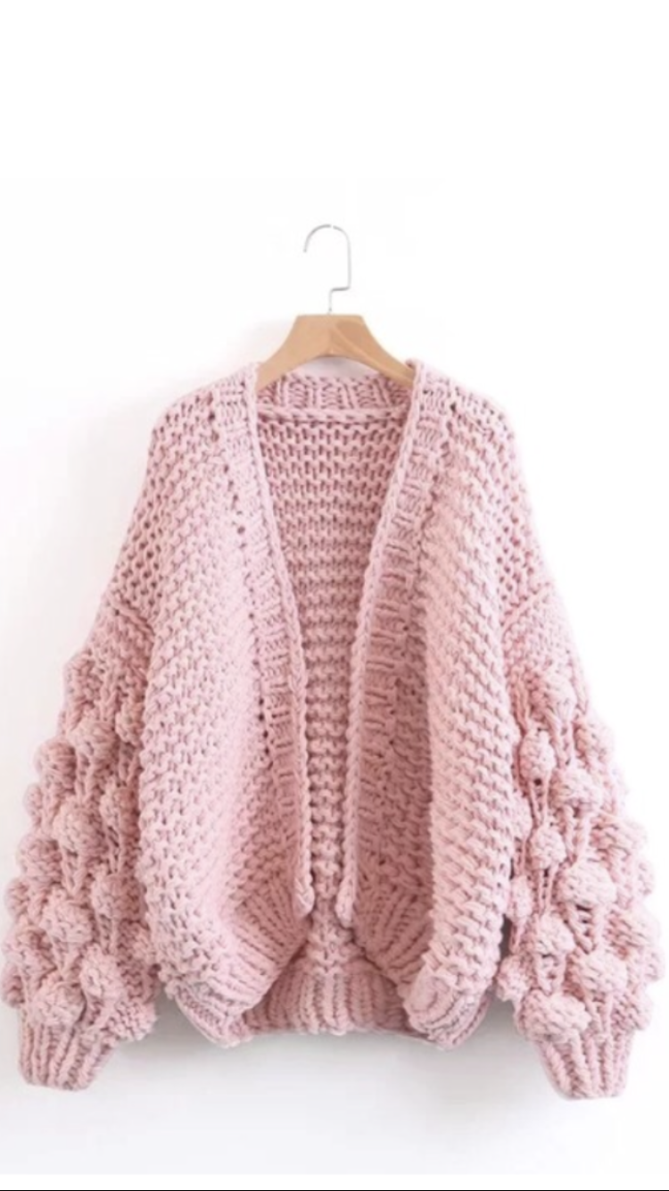 Hand made chunky knit cardigan with Pom Pom sleeves