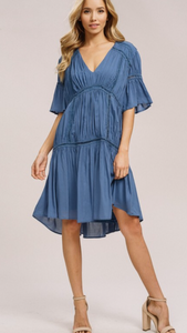 Swing dress with bell sleeves