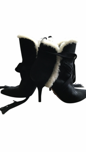 Schutz Suede Shearling Trimmed Ankle  Boots Size 10B