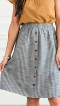 Kayla striped skirt with button detail