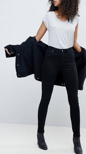 High waist skinny jeans in black
