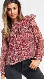Ruffle Detail Floral Blouse//Red