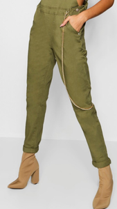 Khaki Slim Overalls With Stretch