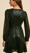 Sequin Mini Wrap Dress (comes in 2 colorways)