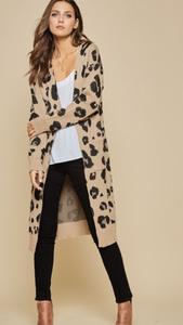 Leopard Knit Long Cardigan