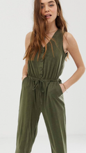 Gigi Button Front Jumpsuit In Olive