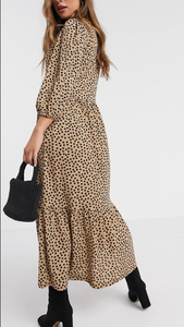 Polka Dot Tiered Midi Dress
