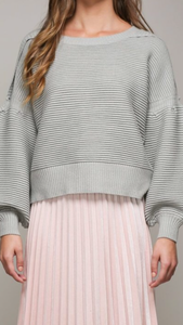Balloon Sleeve Ribbed Sweater in Grey