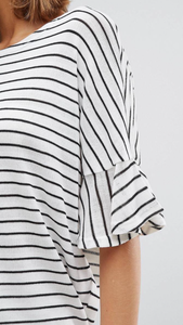 Stripe Lightweight Knit With Flutter Sleeves
