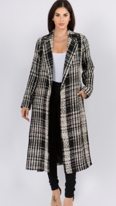 Tweed Plaid Long Coat
