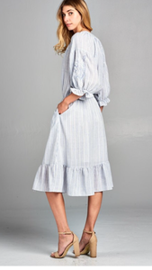 Becca striped embroidered dress