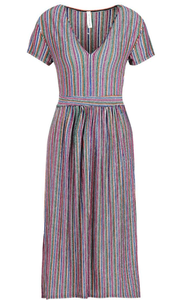 Metallic Rainbow Striped Relaxed Midi Dress