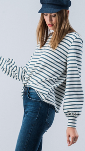 Nautical Striped French Terry Bishop Sleeve Sweater