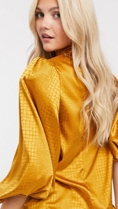 Gold Shimmer Puff Sleeve Blouse // Snake Print