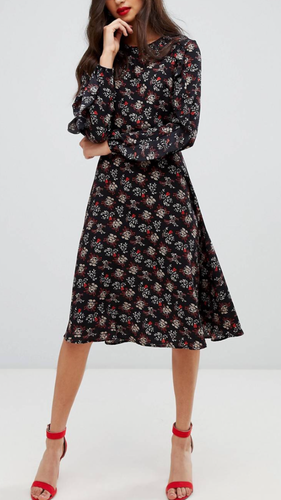 Thankful Floral Midi Dress With Ruffle Sleeves