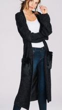 Long cardigan with faux fur pockets