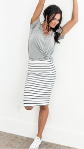 Striped pencil skirt in navy