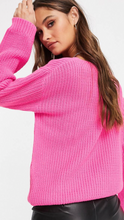 Hot Pink Cable Knit V-Neck Sweater