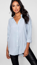 Oversized chambray button down shirt