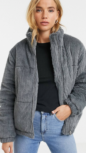Faux Fur Cord Puffer Coat