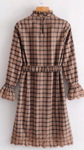 Plaid dress with ruffle neck and belt