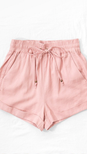 Linen Cuffed Drawstring Short