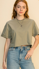 Cropped T-Shirt with Raw Hem // Sienna // Olive