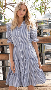 Chloe Striped Ruffle Dress