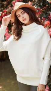 Funnel Neck Soft Ribbed Tunic Sweater (2 Colorways)
