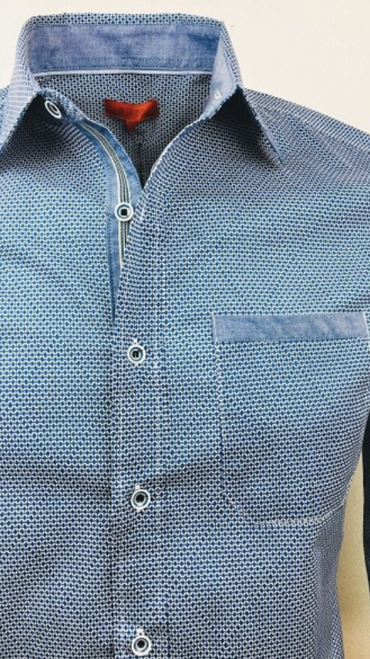 Slim fit diamond print button up shirt in light blue