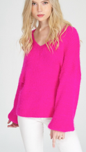 V-neck fuzzy sweater with balloon sleeves