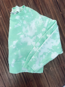 Sorbet Green Bleach Dye Cropped Sweatshirt
