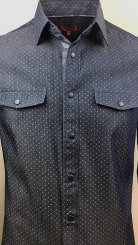 Slim fit star print snap button shirt in blue with camouflage detail