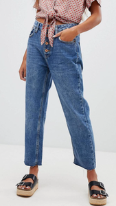 High rise mom jeans with copper buttons