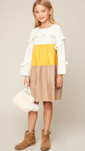 Olivia ruffle midi color block dress