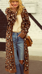 Take Me Outside Leopard Cardigan In Brown