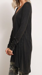 V-neck tunic length basic top in charcoal