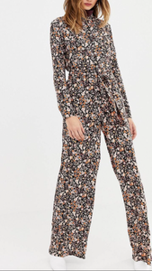 Amberlynn Floral Jumpsuit With Tie Waist