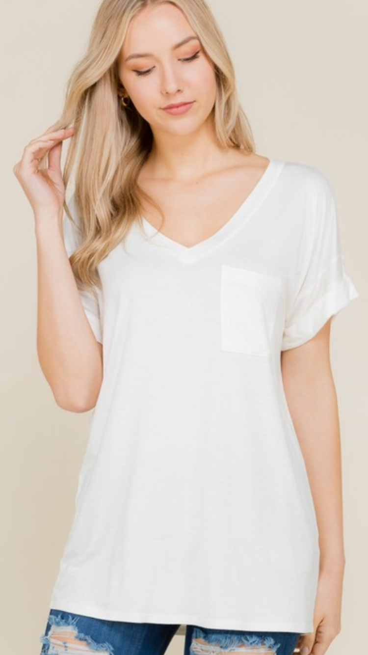 Everyday V-neck tee with rolled sleeve (more colors)